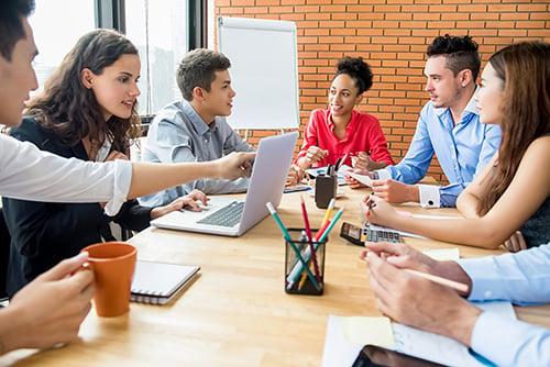 business people brainstorming - blog