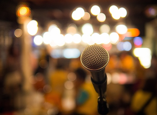microphone with blurred b-blogg