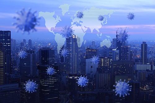 virus on global map - blog
