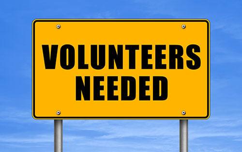 volunteers needed sign - blog