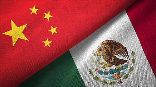China, Mexico Flags