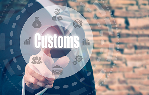 customs concept button - blog