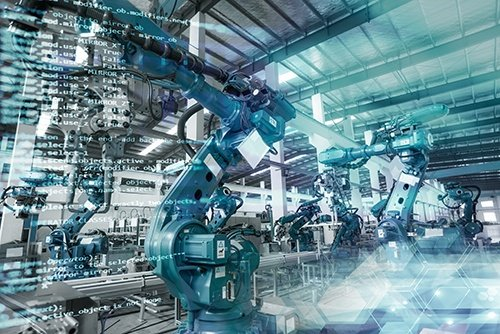 industrial robot with code-blog
